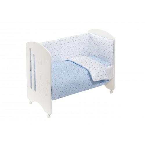 Cuna de madera con textil Azul L0020 Interbaby