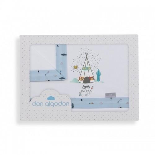 Tríptico minicuna Dakota blanco/azul